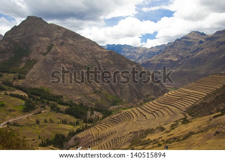 Andes mountain range in the Peruvian Sacred valley - stock photo