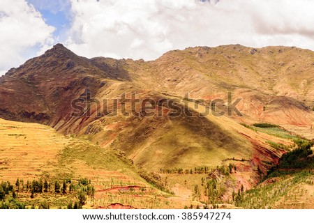 Andes of Peru near the Sacred Valley of the Incas in, Peru - stock photo