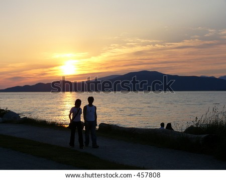Andes Sunset - Couple - stock photo