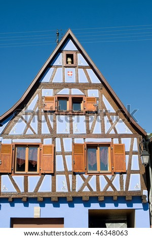Andlau (Bas-Rhin, Alsace, France) - Exterior of ancient half-timbered blue house