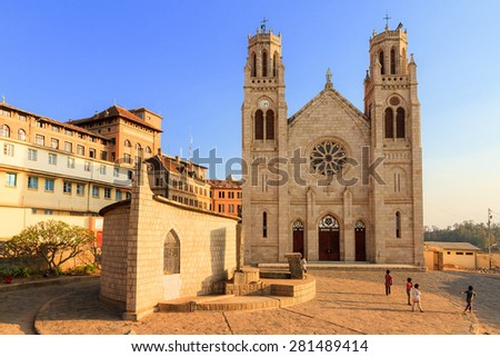 Andohalo Cathedral in Antananarivo, Madagascar, biggest church in Madagascar - stock photo