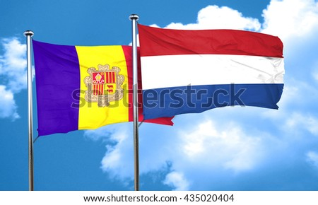Andorra flag with Netherlands flag, 3D rendering
