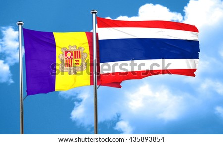 Andorra flag with Thailand flag, 3D rendering