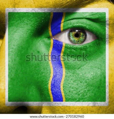 Andorra la Vella flag painted on a man's face to support his city Andorra la Vella - stock photo