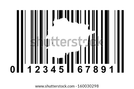 Andorra shopping bar code isolated on white background.