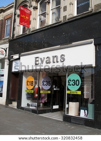 Andover, High Street, Hampshire, England - September 25, 2015: Evans, plus size clothing, lingerie, shoes, swimwear and accessories, founded in 1930 by Jack Green - stock photo