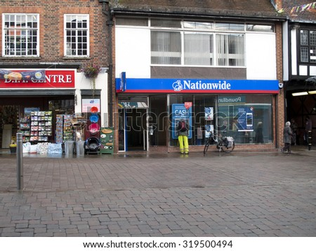 Andover, High Street, Hampshire, England - September 21, 2015: Nationwide Building Society, late rain soaked afternoon - stock photo