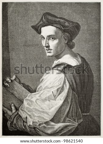 Andrea del Sarto old engraved portrait (Italian Renaissance painter). Created by Bocourt and Guillaume, published on Magasin Pittoresque, Paris, 1882 - stock photo