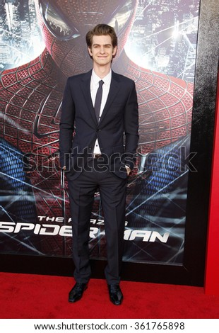 "Andrew Garfield at the Los Angeles premiere of ""The Amazing Spider-Man"" held at the Mann Village Theater in Los Angeles, California, United States on June 28, 2012.  - stock photo"
