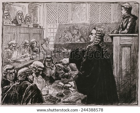 Andrew Hamilton, Peter Zenger's (seated, upper right) defense lawyer, argues against his guilt for seditious libel against the colonial governor. In the crowded New York courtroom.