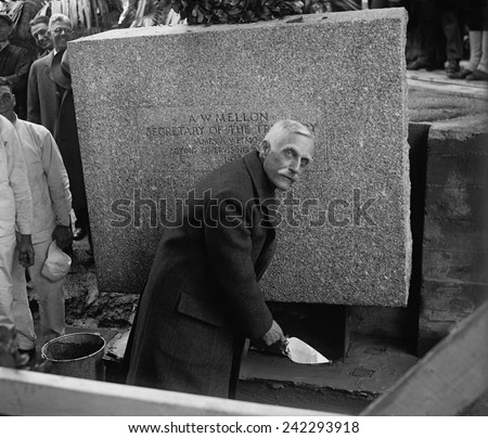 Andrew Mellon (1855-1937), Secretary of the Treasury, laying cornerstone of Internal Revenue Building on May 20, 1929.