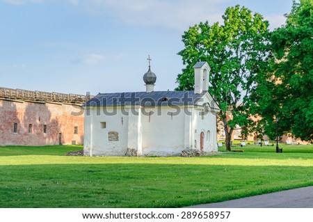 Andrew Stratelates Orthodox Church in Veliky Novgorod (Russia)  at summer sunset