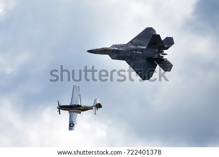 ANDREWS JOINT BASE, MD – SEPTEMBER 16: Heritage flight with Mustang P51 and F22 fighter jet at the Andrews Joint Base Air Show celebrating the 70th anniversary of the Air Force, on September 16, 2017.