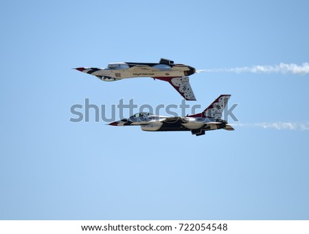 ANDREWS JOINT BASE, MD – SEPTEMBER 16: Thunderbirds flying F16 jets at the Andrews Joint Base Air Show celebrating the 70th anniversary of the Air Force, on September 16, 2017.