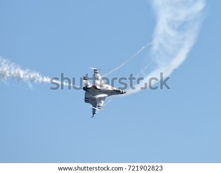 ANDREWS JOINT BASE, MD – SEPTEMBER 16: Two Thunderbirds flying F16 jets at the Andrews Joint Base Air Show celebrating the 70th anniversary of the Air Force, on September 16, 2017.
