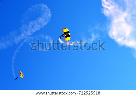 ANDREWS JOINT BASE, MD – SEPTEMBER 16: US Army Golden Knights at the Andrews Joint Base Air Show celebrating the 70th anniversary of the Air Force, on September 16, 2017.