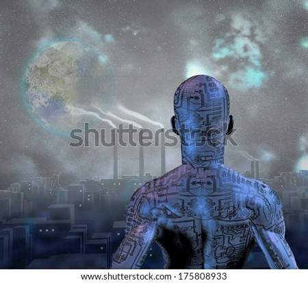 Android before smog filled city with terraformed moon in sky