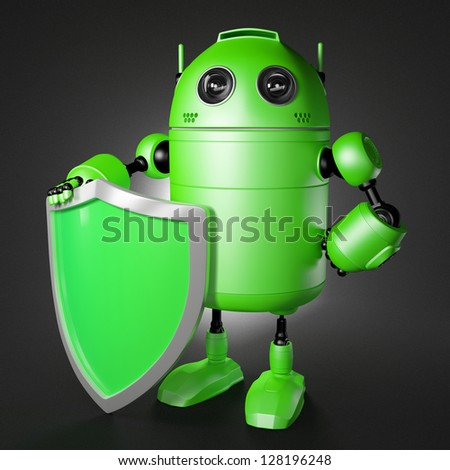 Android guard with shield. Technology protection cocept - stock photo