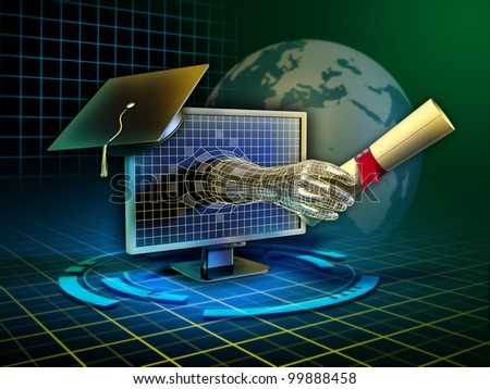 Android hand emerges from a monitor and delivers a diploma. Digital illustration. - stock photo