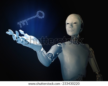 Android holding a binary code key - stock photo