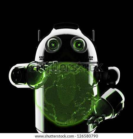 Android holding a glowing earth globe. Rendered on black background - stock photo