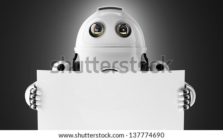 Android robot holding a blank board with copyspace on white - stock photo