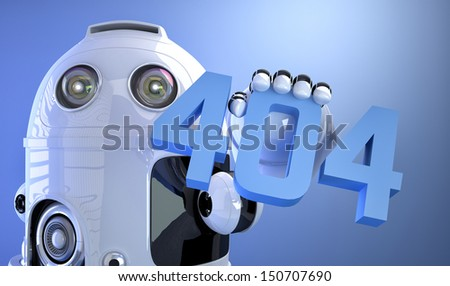 Android robot holding 404 error sign - stock photo