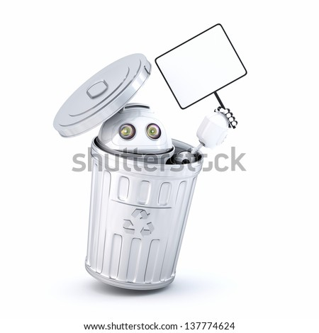 Android robot inside recycle bin. Electronic recycle concept - stock photo