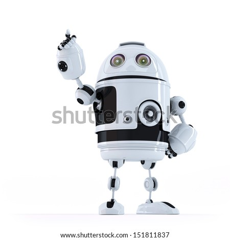 Android robot pointing at invisible object. Isolated