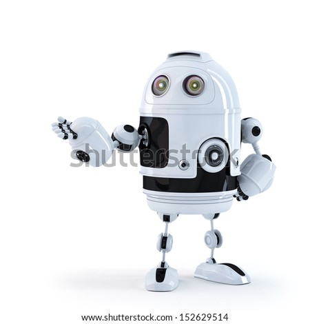 Android robot presenting an invisible object. Isolated - stock photo