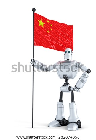 Android Robot standing with flag of China. Isolated over white. Contains clipping path - stock photo