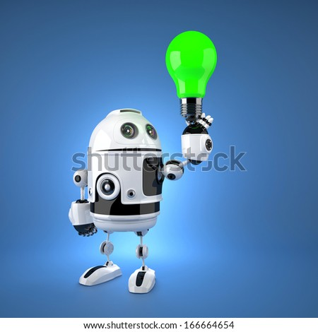 Android robot with green light bulb. Technology concept