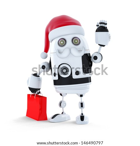 Android robot with santa's hat and a shopping bag Isolated on white