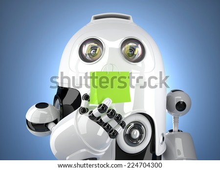 Android robot with shopping bag. Contains clipping path - stock photo