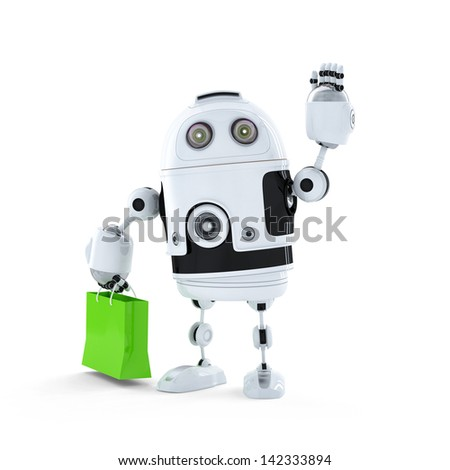 Android robot with shopping bag. Isolated on white background