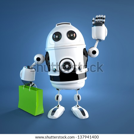 Android robot with shopping bag. Rendered on white background