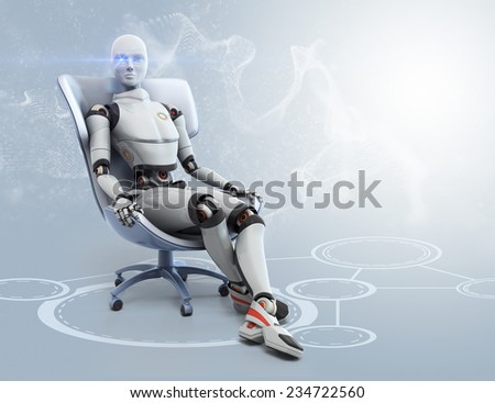 Android sits in a chair - stock photo