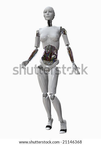 Android style robot female with colorful wiring