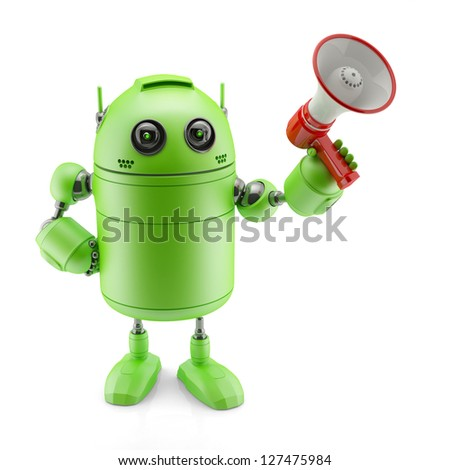 Android with a megaphone - stock photo