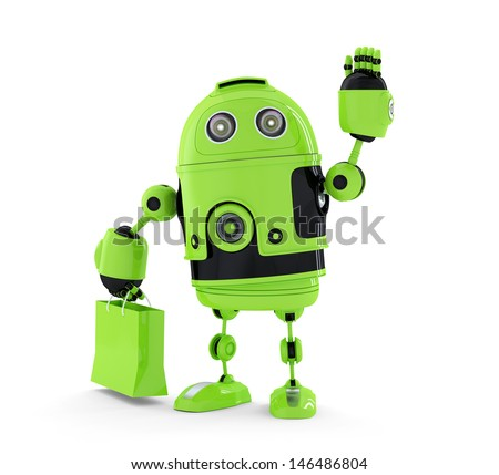 Android  with shopping bag. Isolated on white background