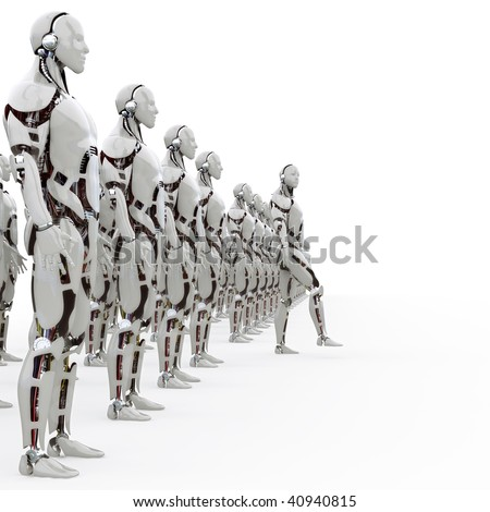 Androids takes a step forward from the ranks - stock photo