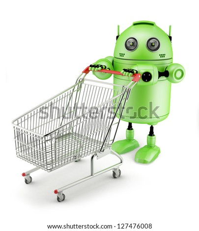 Androidwith shopping cart. Isolated on white background - stock photo