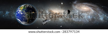 "Andromeda Milky Way collision (galactic disaster) ""Elements of this image furnished by NASA "" - stock photo"