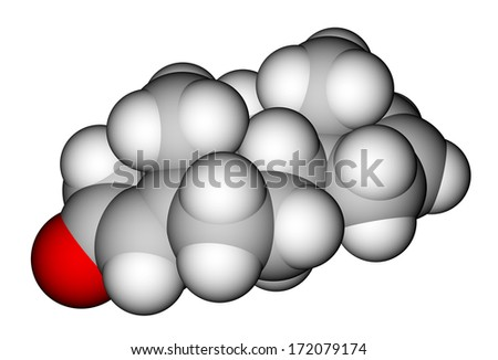 Androstadienone, a strong male-produced pheromone. Molecular structure - stock photo