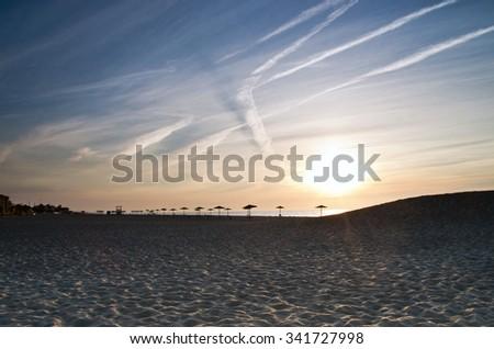 andscape sea sunrice golden sky - stock photo