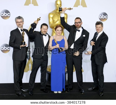 Andy Serkis, Mark Williams Ardington, Paul Norris, Sara Bennett and Andrew Whitehurst at the 88th Annual Academy Awards - Press Room held at the Loews Hollywood in Hollywood, USA on February 28, 2016. - stock photo