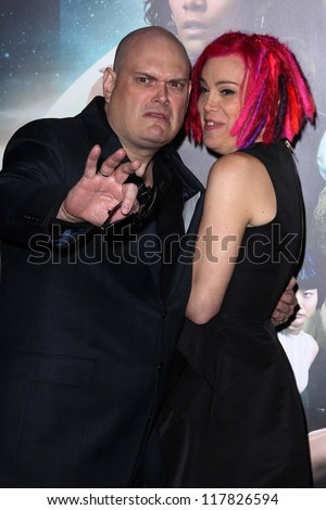 """Andy Wachowski, Lana Wachowski at the """"Cloud Atlas"""" Los Angeles Premiere, Chinese Theater, Hollywood, CA 10-24-12 - stock photo"""