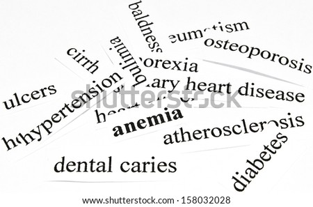 Anemia. Health care concept of diseases caused by unhealthy nutrition