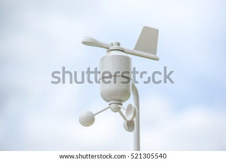 Anemometer Meteorology station, Wind meter with blur background