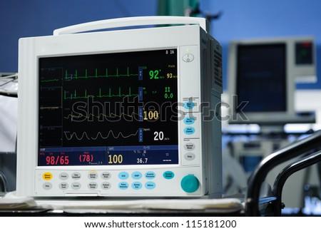 Anesthesia monitor description close-up - stock photo